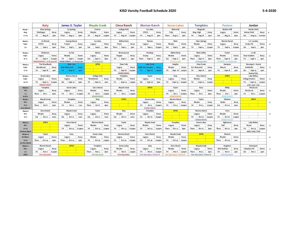 Katyisd Calendar 2022.Katy Isd Releases 2020 Varsity Football Schedules 281 Sports Unlimited
